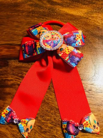 1 x 4 INCH RED SHOPKINS CHEERLEADER BOW WITH RHINESTONE CENTRE AND BOBBLE